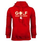 Red Fleece Hoodie-Golf w/ Ball
