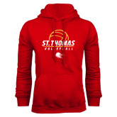Red Fleece Hoodie-St. Thomas Volleyball Stacked