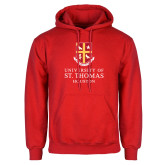 Red Fleece Hoodie-Vertical Shield University of St Thomas Houston