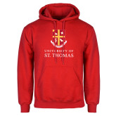 Red Fleece Hoodie-Vertical Shield University of St Thomas