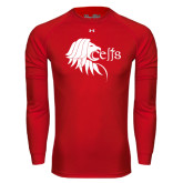 Under Armour Red Long Sleeve Tech Tee-Lion Head w/ Celts
