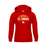 Youth Red Fleece Hoodie-St. Thomas Basketball Half Ball