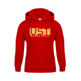 Youth Red Fleece Hoodie-UST Basketball Block