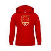 Youth Red Fleece Hoodie-Soccer Shield