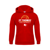 Youth Red Fleece Hoodie-St. Thomas Volleyball Stacked