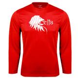 Performance Red Longsleeve Shirt-Lion Head w/ Celts