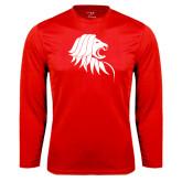 Performance Red Longsleeve Shirt-Lion Head
