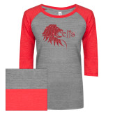 ENZA Ladies Athletic Heather/Red Vintage Triblend Baseball Tee-Lion Head w/ Celts Red Glitter