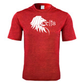 Performance Red Heather Contender Tee-Lion Head w/ Celts