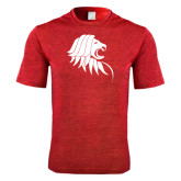 Performance Red Heather Contender Tee-Lion Head