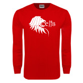 Red Long Sleeve T Shirt-Lion Head w/ Celts