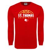 Red Long Sleeve T Shirt-St. Thomas Basketball Half Ball
