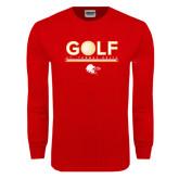 Red Long Sleeve T Shirt-Golf w/ Ball
