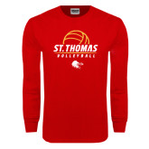Red Long Sleeve T Shirt-St. Thomas Volleyball Stacked