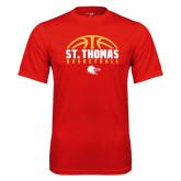 Performance Red Tee-St. Thomas Basketball Half Ball