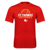 Performance Red Tee-St. Thomas Volleyball Stacked
