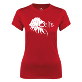 Ladies Syntrel Performance Red Tee-Lion Head w/ Celts