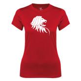 Ladies Syntrel Performance Red Tee-Lion Head
