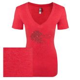 Next Level Ladies Vintage Red Tri Blend V-Neck Tee-Lion Head w/ Celts Red Glitter