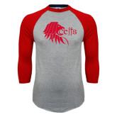 Grey/Red Raglan Baseball T Shirt-Lion Head w/ Celts