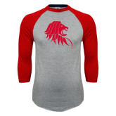 Grey/Red Raglan Baseball T Shirt-Lion Head
