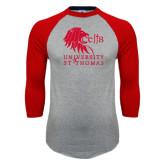 Grey/Red Raglan Baseball T Shirt-Official Logo Distressed