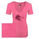 Next Level Ladies Vintage Pink Tri Blend V-Neck Tee-Lion Head w/ Celts Hot Pink Glitter