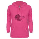ENZA Ladies Hot Pink V Notch Raw Edge Fleece Hoodie-Lion Head w/ Celts Hot Pink Glitter