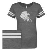 ENZA Ladies Dark Heather/White Vintage Triblend Football Tee-Lion Head w/ Celts White Soft Glitter