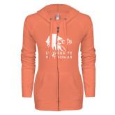 ENZA Ladies Coral Light Weight Fleece Full Zip Hoodie-Official Logo