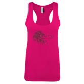 Next Level Ladies Raspberry Ideal Racerback Tank-Lion Head w/ Celts Hot Pink Glitter