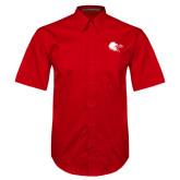 Red Twill Button Down Short Sleeve-Lion Head w/ Celts