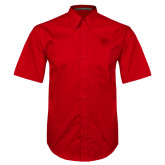 Red Twill Button Down Short Sleeve-Lion Head
