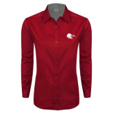 Ladies Red Twill Button Down Long Sleeve-Lion Head w/ Celts