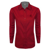 Ladies Red Twill Button Down Long Sleeve-Lion Head