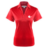 Ladies Red Performance Fine Jacquard Polo-Lion Head w/ Celts