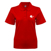 Ladies Easycare Red Pique Polo-Lion Head w/ Celts