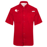 Columbia Tamiami Performance Red Short Sleeve Shirt-Lion Head w/ Celts