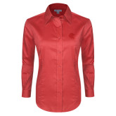 Ladies Red House Red Long Sleeve Shirt-Lion Head