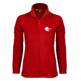 Ladies Fleece Full Zip Red Jacket-Lion Head w/ Celts