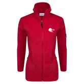 Columbia Ladies Full Zip Red Fleece Jacket-Lion Head w/ Celts