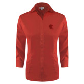 Ladies Red House Red 3/4 Sleeve Shirt-Lion Head