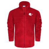 Columbia Full Zip Red Fleece Jacket-Lion Head w/ Celts