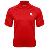 Red Textured Saddle Shoulder Polo-Lion Head w/ Celts