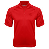 Red Textured Saddle Shoulder Polo-Lion Head