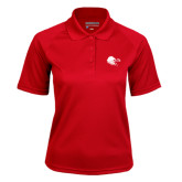 Ladies Red Textured Saddle Shoulder Polo-Lion Head w/ Celts