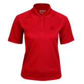 Ladies Red Textured Saddle Shoulder Polo-Lion Head