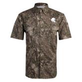 Camo Short Sleeve Performance Fishing Shirt-Lion Head