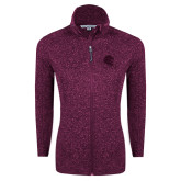 Dark Pink Heather Ladies Fleece Jacket-Lion Head