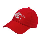 Red Twill Unstructured Low Profile Hat-Lion Head w/ Celts